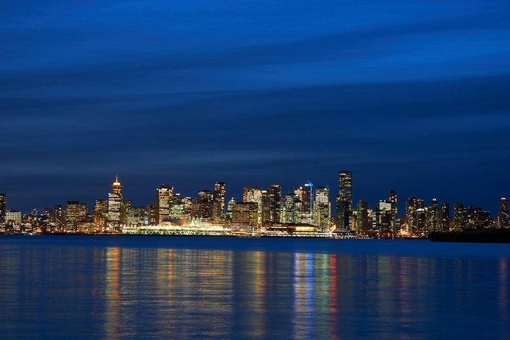 Night city, panoramic scene of downtown