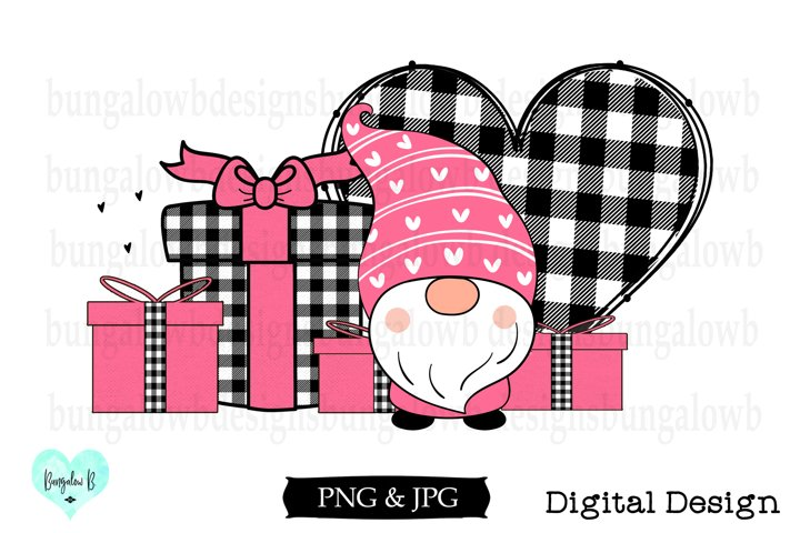 Pink Gnome With Presents Valentine Design Download