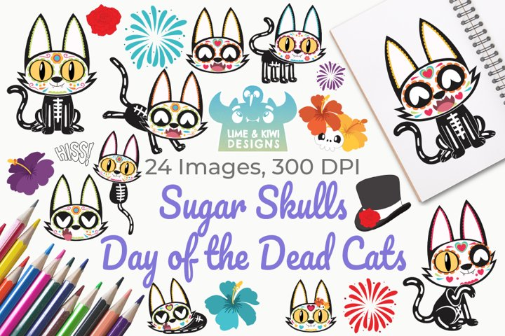Sugar Skulls Day of the Dead Cats Clipart, Instant Download