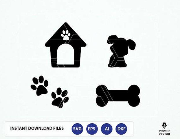 Dog SVG File. Dog Cut File. Dog Png. Dog Cricut. Dog Cameo File. Dog House, Bone, Paw Prints Svg. Dog Vector.