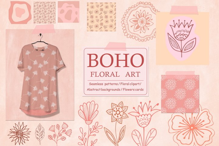 Boho Floral Art - Flowers and Leaves Clipart, Digital Paper