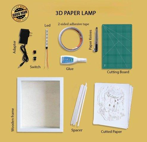 THE OLYMPIAN GODS 3D Paper Cut Light Box - Shadow box example 1