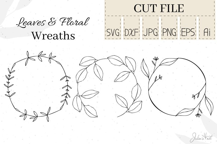 Leaves Floral Wreaths - SVG DXF Cut Files Ai EPS PNG JPG