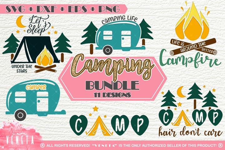 Camping   BUNDLE - 11 Designs   SVG, DXF, EPS, PNG Cut Files