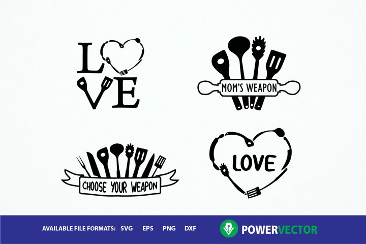 Kitchen Cut Files - Svg, Dxf, Eps for Cricut and Cameo