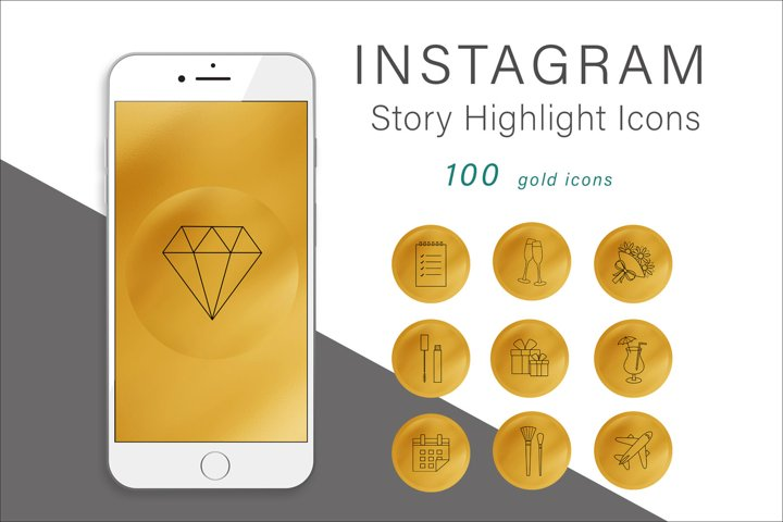 Gold and Rose Gold Instagram Story Highlight Icons