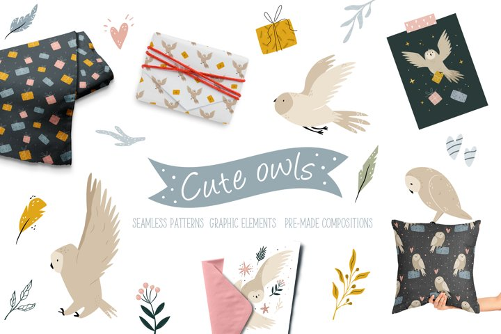 Cute Owls Set. Seamless Patterns, Graphic Elements PNG, SVG