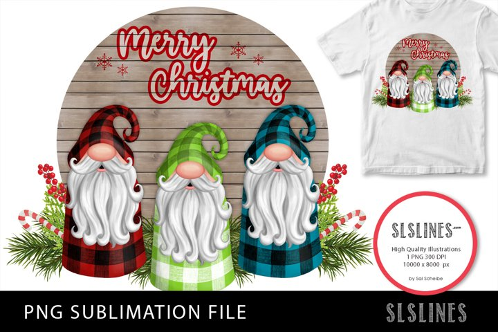 Trio of Christmas Gnomes PNG sublimation