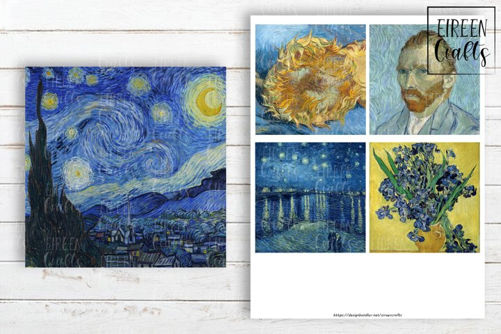 Vincent van Gogh 4x4 inch tiles, Coasters Collage Sheet