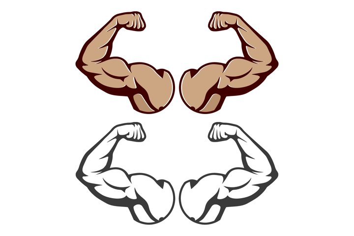 Cartoon hard muscle. Strong arm Isolated