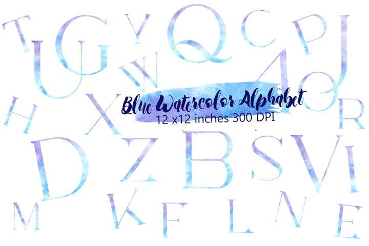 Blue watercolor alphabet clipart,Watercolor letters