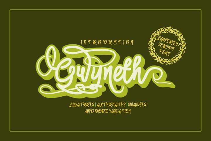 Gwyneth | modern script layered