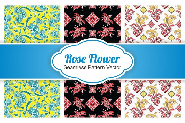 3 Collection Seamless pattern Rose Flower