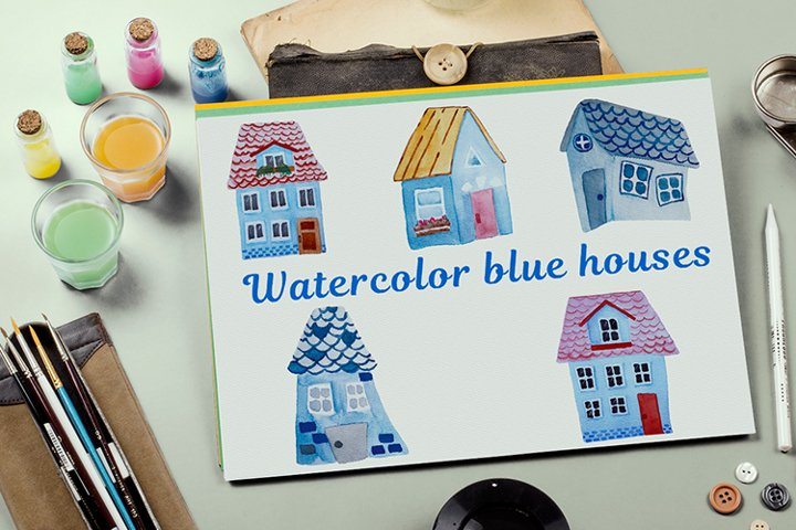 Bundle of blue watercolor houses