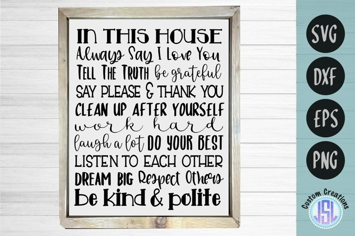 In This House Quote   Family SVG   SVG DXF EPS PNG