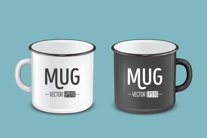 Vector enamel metal mug set.