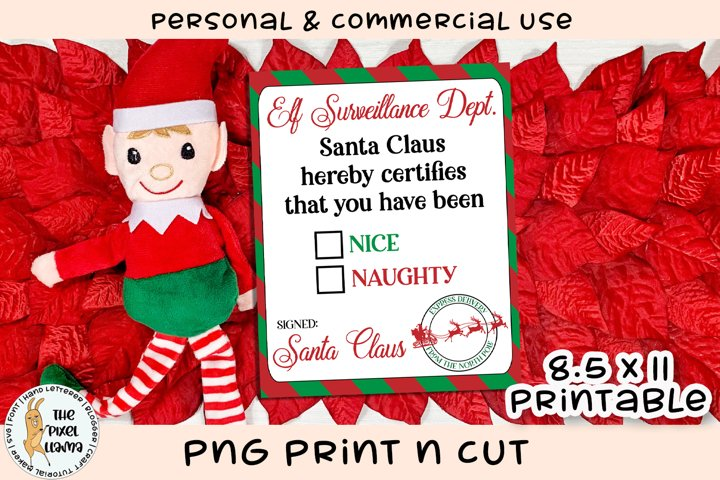Elf Surveillance Dept Nice Naughty List Printable