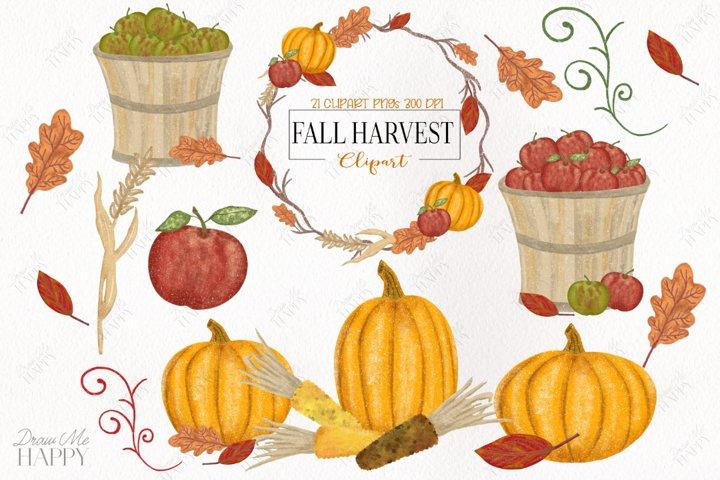 Fall Clipart, Autumn Clipart, Fall Harvest, Fall Wreath