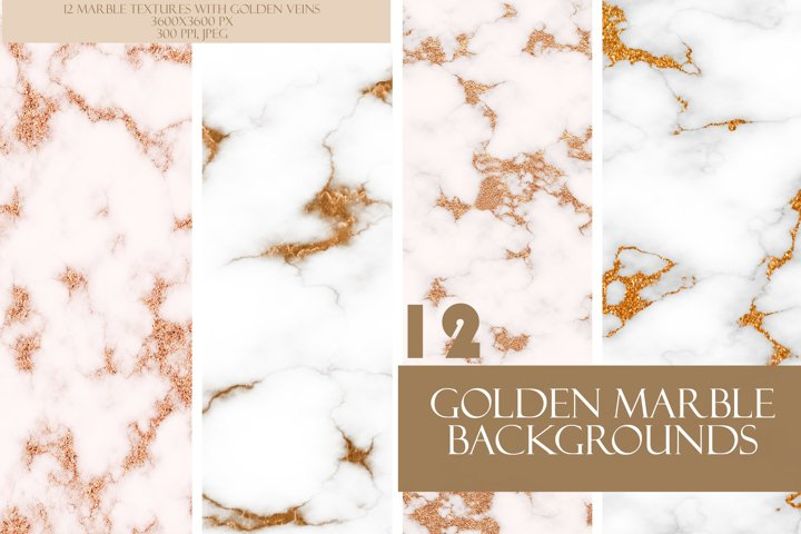 Pretty Marble White & Gold Texture Set