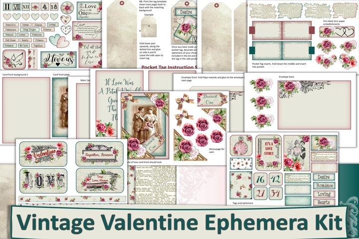 Vintage Valentines Day Ephemera, Clipart &FREE Backgrounds