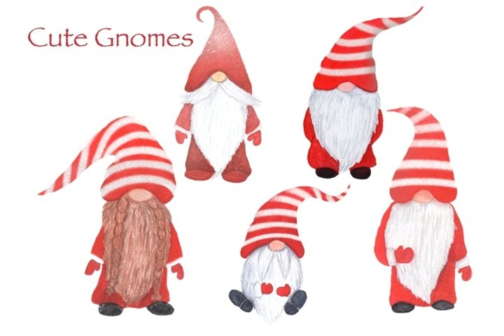 Cute Christmas Gnomes Watercolor Clipart