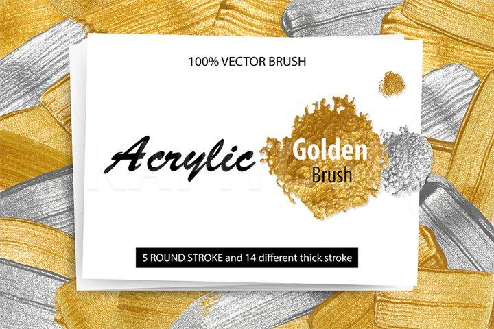 Acrylic gold metal paint brush vector