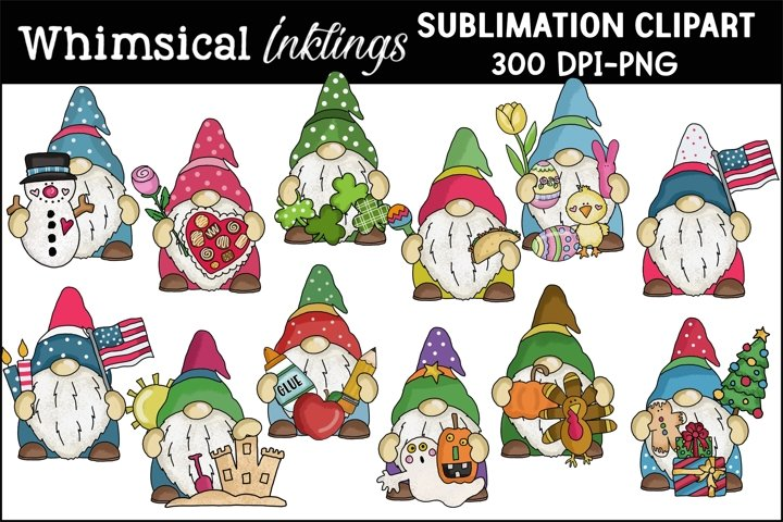 A Year Of Gnomes Sublimation Clipart-12 ALL NEW Designs
