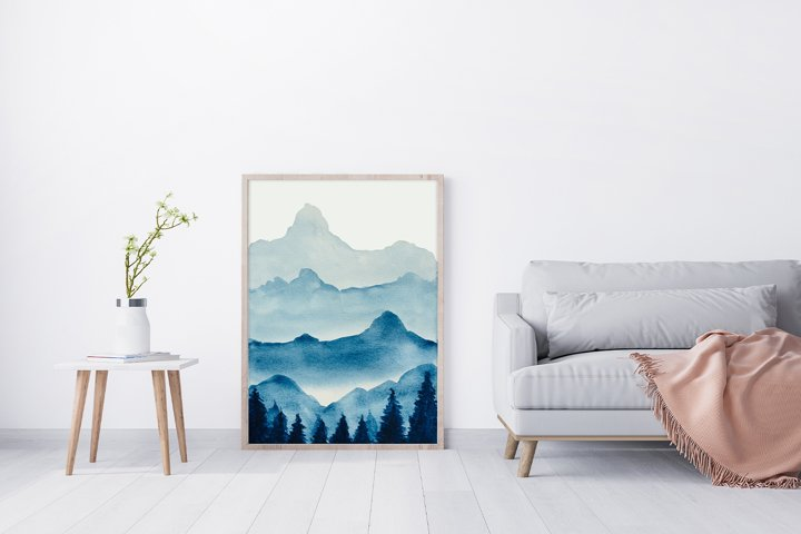 Watercolor clipart,Mountain scenery