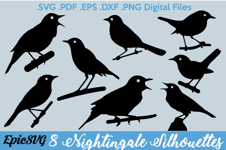 8 Nightingale Silhouettes | Digital Files for Cut Machines