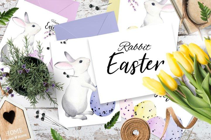 Watercolor rabbit easter