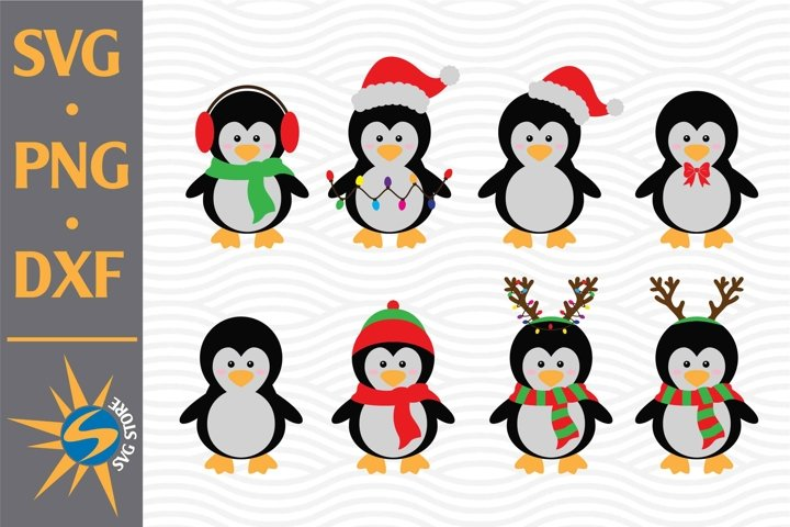 Penguin Christmas SVG, PNG, DXF Digital Files Include