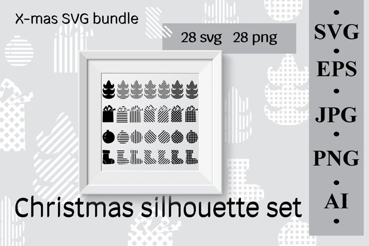 Christmas silhouette set, X-mas SVG bundle
