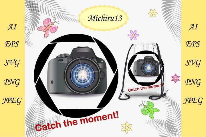 Modern camera in the aperture photo frame and inscription