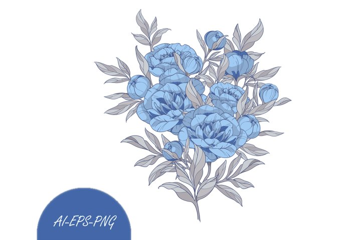 Vector Clipart with Bouquet blue peonies flowers