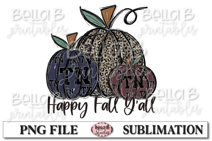 Tennessee Fall Pumpkins Sublimation Design