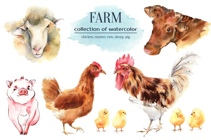 Farm animals watercolor collection