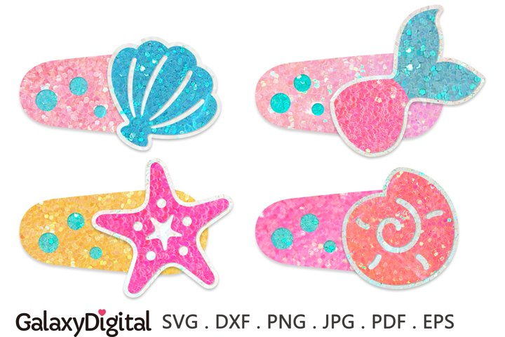Mermaid Snap Clip SVG, Hair Clip Cover Template SVG