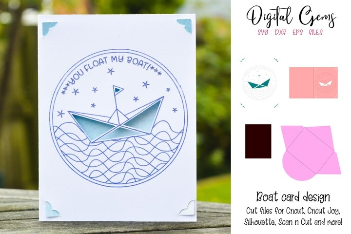 Boat card design! Now compatible with the Cricut Joy!