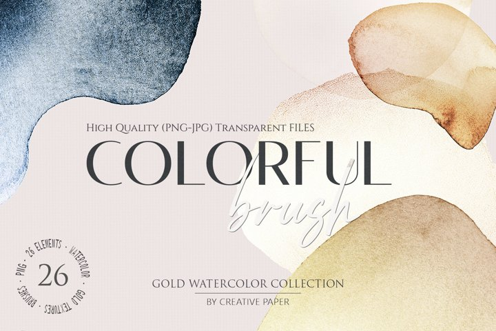 Gold Watercolor Shapes JPG - PNG Elements