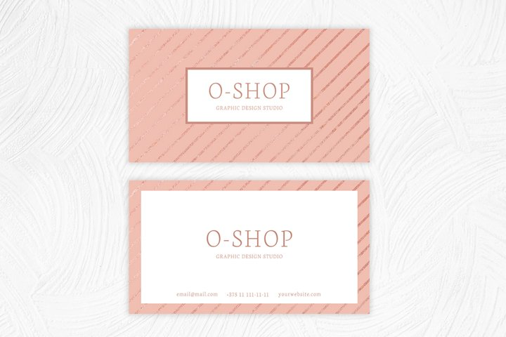 Shine pink visit card with stripes