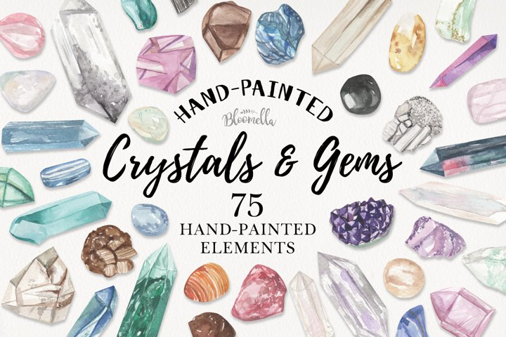 75 Crystals and Gemstones Set Watercolor Clipart Elements