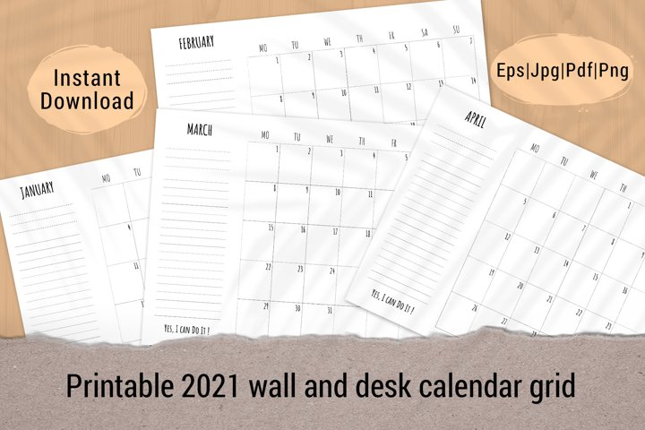 Printable monthly planner template 2021 week start on Monday
