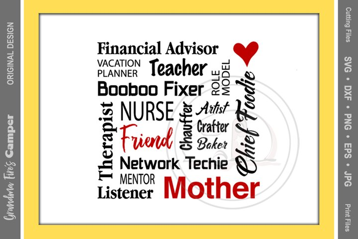 Mothers Day SVG, Mothers Jobs, Word Puzzle