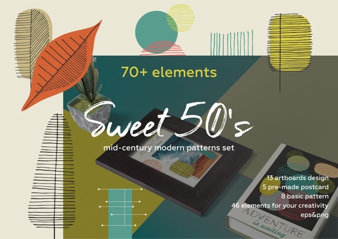 Fall in retro 50s! Vintage hand drawn patterns set