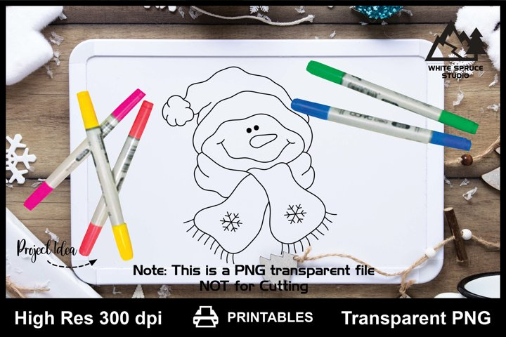 Funny Snowman Head with Hat & Scarf Printable Line Art PNG
