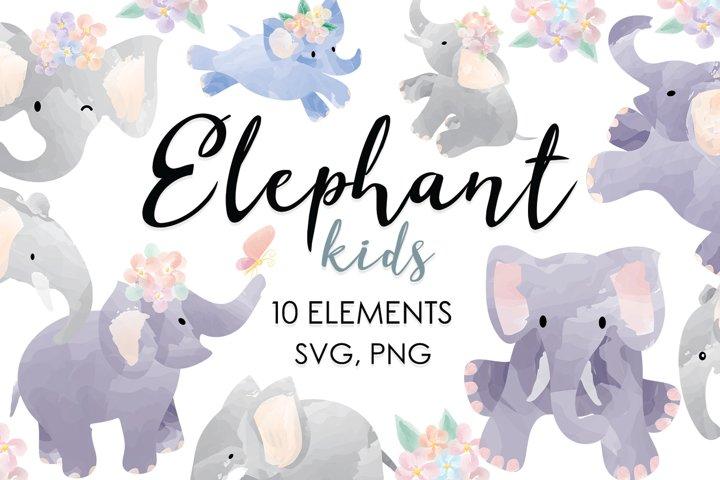 Elephant, Watercolor Animals, Baby Bundles, Nursery, Safari