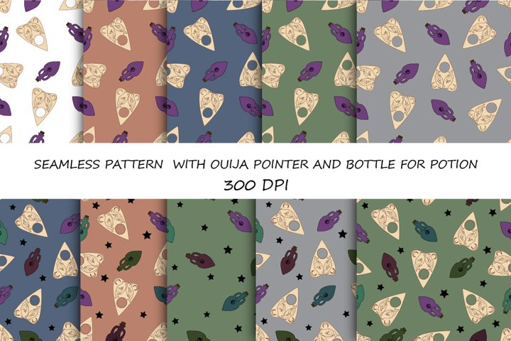 SEAMLESS PATTERN WITH OUIJA POINTER AND BOTTLE FOR POTION
