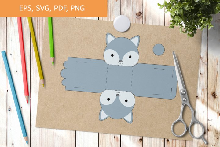 Cute Wolf Gift Box Template SVG, Gift Box SVG