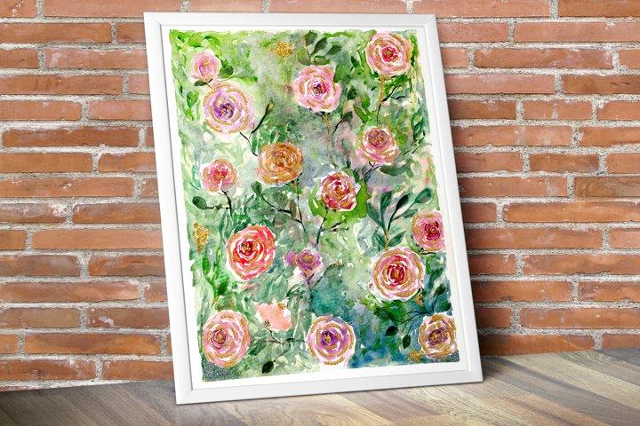 Rose Painting, Watercolor floral painting,Digital Art Print
