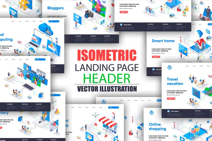 Isometric Landing Page Template Mega Bundle